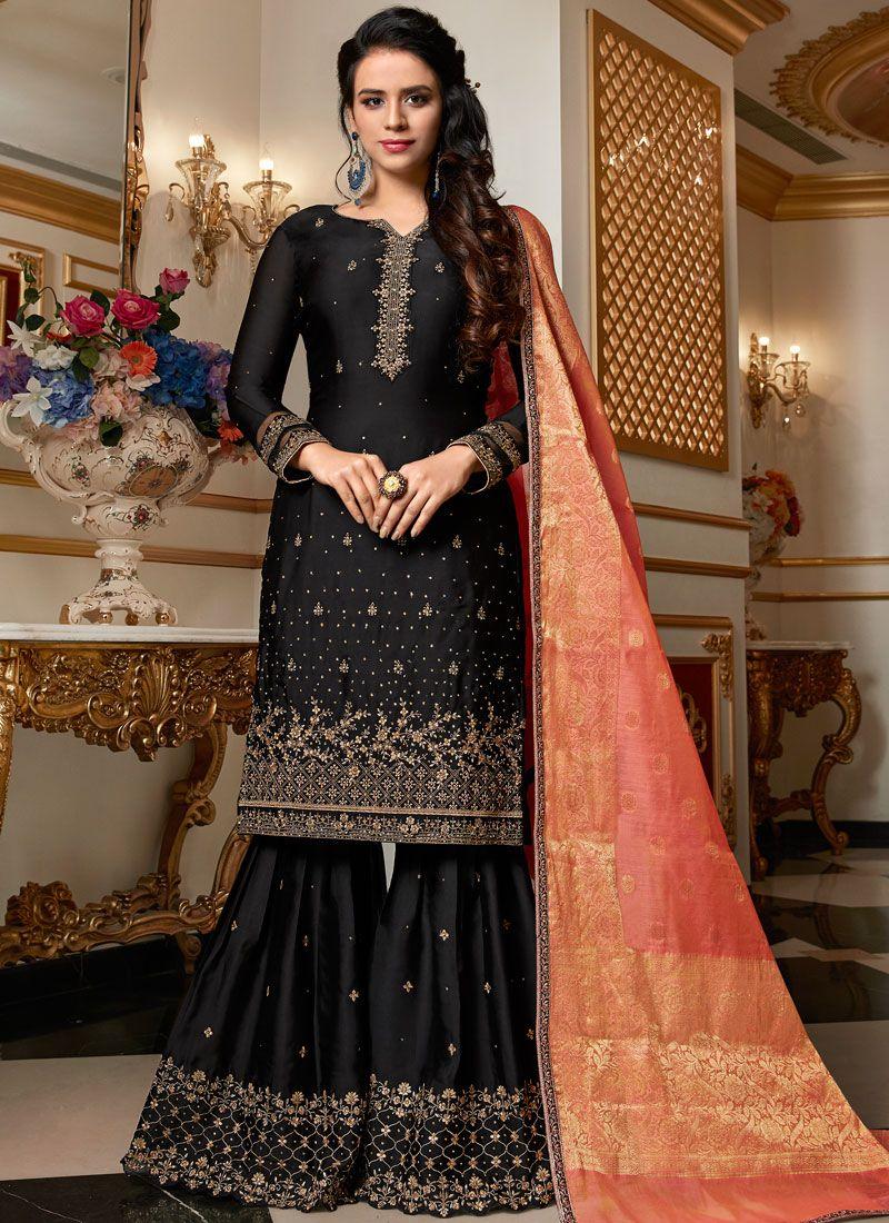 Georgette Satin Black Resham Designer Pakistani Suit