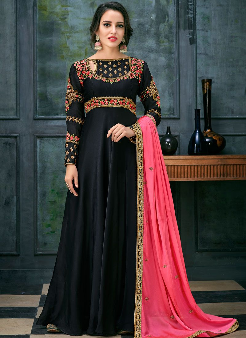 Georgette Satin Black Resham Floor Length Anarkali Suit