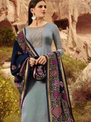 Georgette Satin Blue Designer Straight Suit