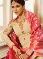 Georgette Satin Ceremonial Churidar Designer Suit