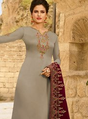 Georgette Satin Churidar Designer Suit