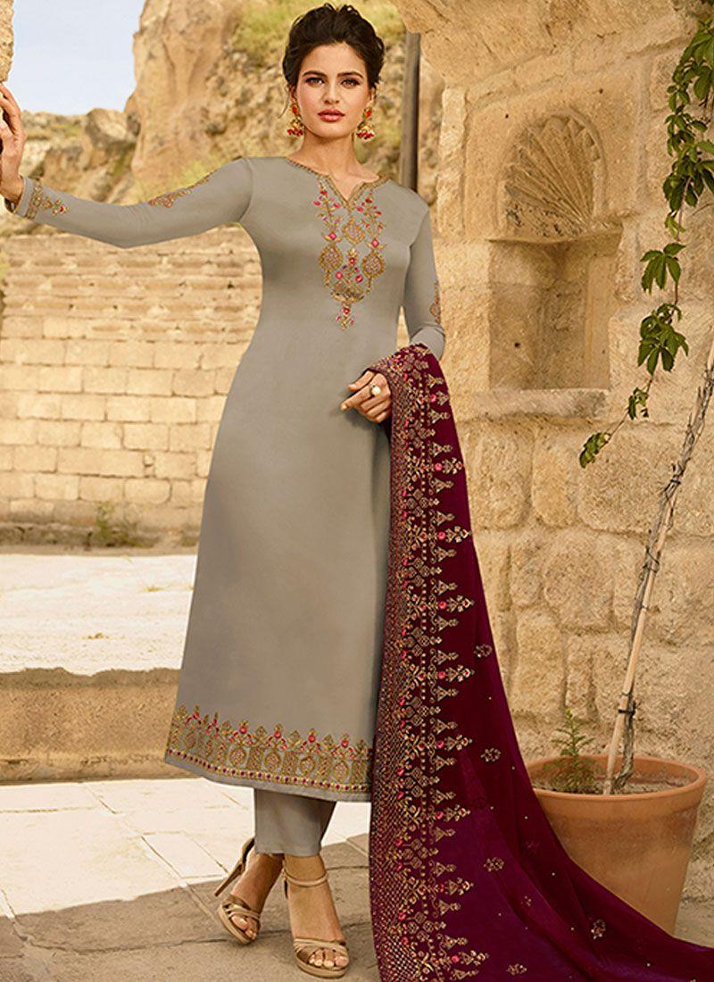 Georgette Satin Churidar Designer Suit