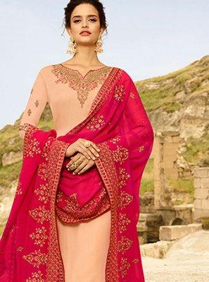 Georgette Satin Churidar Designer Suit in Peach