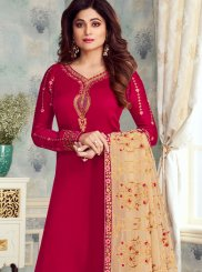Georgette Satin Churidar Designer Suit in Red