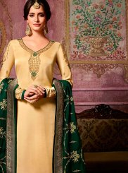 Georgette Satin Churidar Suit in Cream