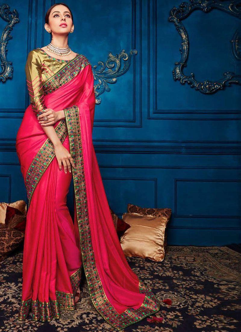 Georgette Satin Classic Designer Saree in Hot Pink
