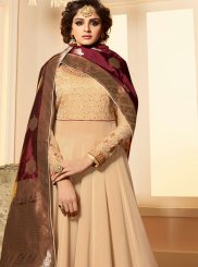 Georgette Satin Cream Anarkali Salwar Suit
