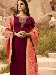 Georgette Satin Designer Straight Suit in Magenta
