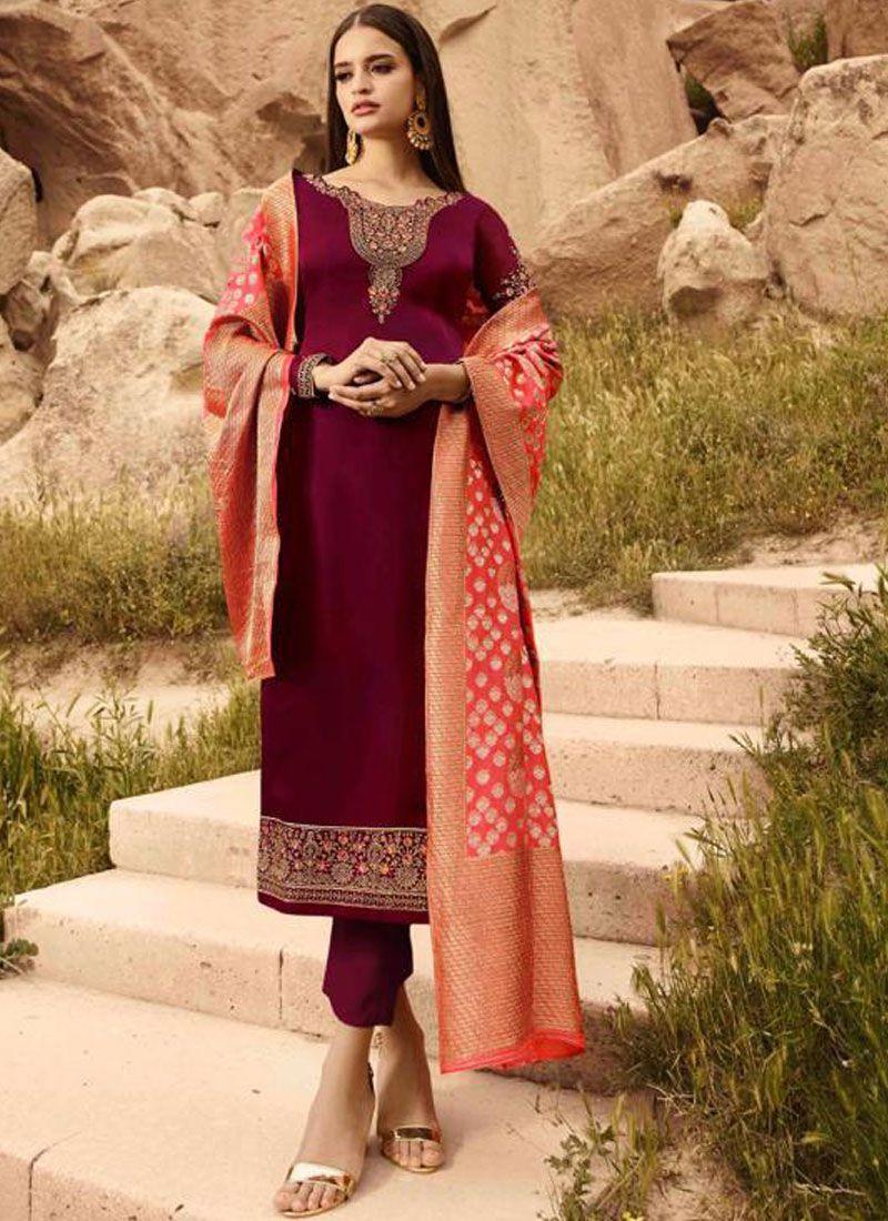 Georgette Satin Designer Straight Suit in Magenta
