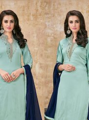 Georgette Satin Designer Suit in Blue