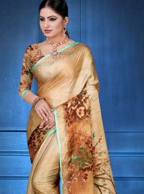 Georgette Satin Digital Print Printed Saree in Multi Colour