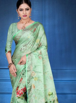 Georgette Satin Digital Print Printed Saree in Sea Green