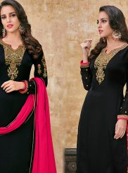 Georgette Satin Embroidered Black Designer Suit