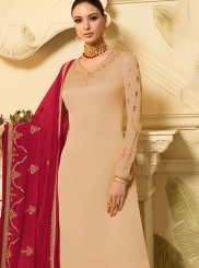 Georgette Satin Embroidered Cream Designer Palazzo Salwar Suit