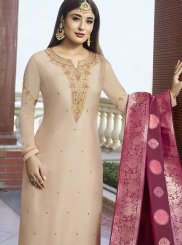 Georgette Satin Embroidered Cream Pant Style Suit
