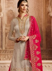 Georgette Satin Embroidered Designer Pakistani Suit