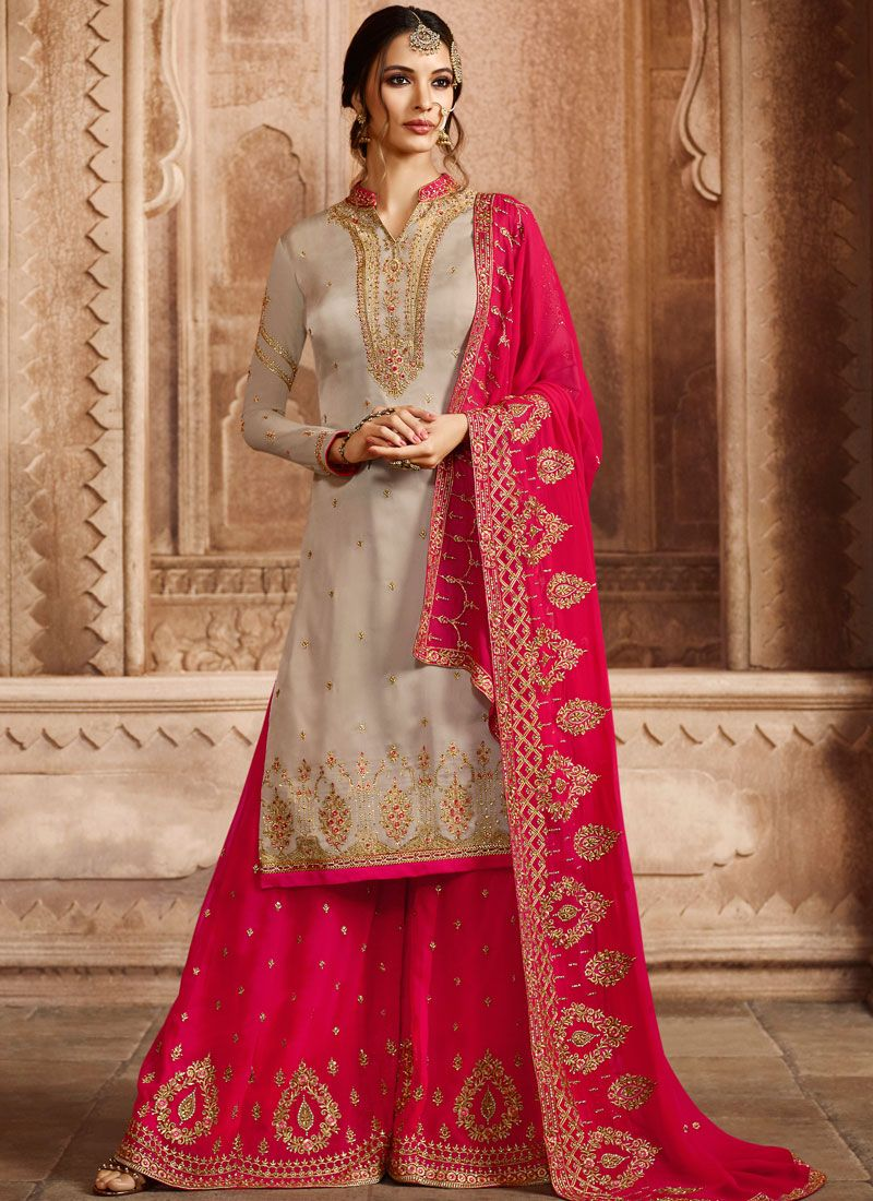 29fd2c78e8 Shop Online Georgette Satin Embroidered Designer Pakistani Suit : 106996 -