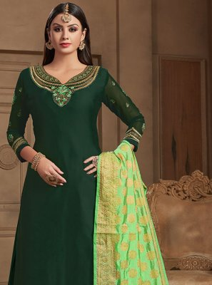 Georgette Satin Embroidered Designer Straight Suit