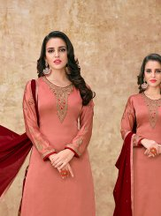 Georgette Satin Embroidered Designer Suit in Peach