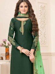 Georgette Satin Embroidered Green Churidar Designer Suit