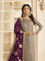 Georgette Satin Embroidered Grey Churidar Suit