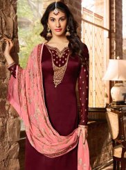 Georgette Satin Embroidered Maroon Trendy Churidar Salwar Suit