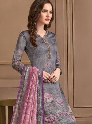 Georgette Satin Embroidered Multi Colour Pant Style Suit
