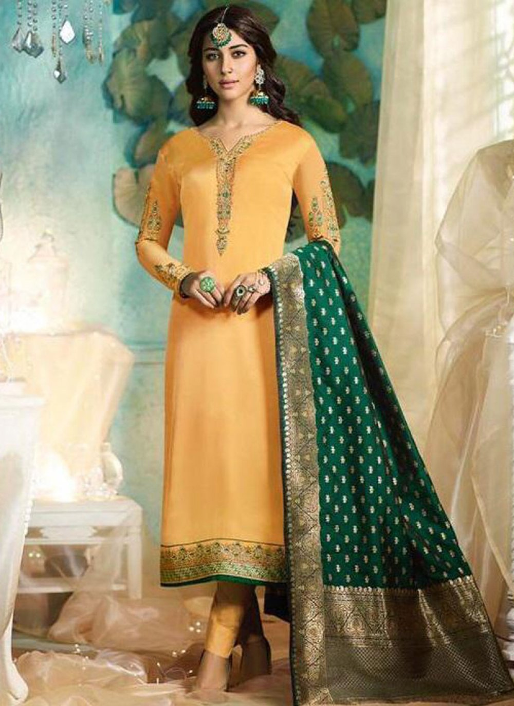 Georgette Satin Embroidered Mustard Pant Style Suit