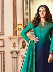 Georgette Satin Embroidered Navy Blue Designer Straight Suit