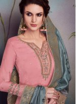 Georgette Satin Embroidered Palazzo Salwar Suit in Pink