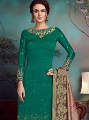 Georgette Satin Embroidered Pant Style Suit
