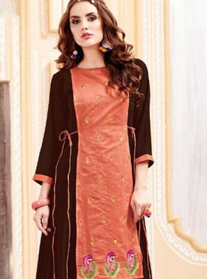 Georgette Satin Embroidered Party Wear Kurti