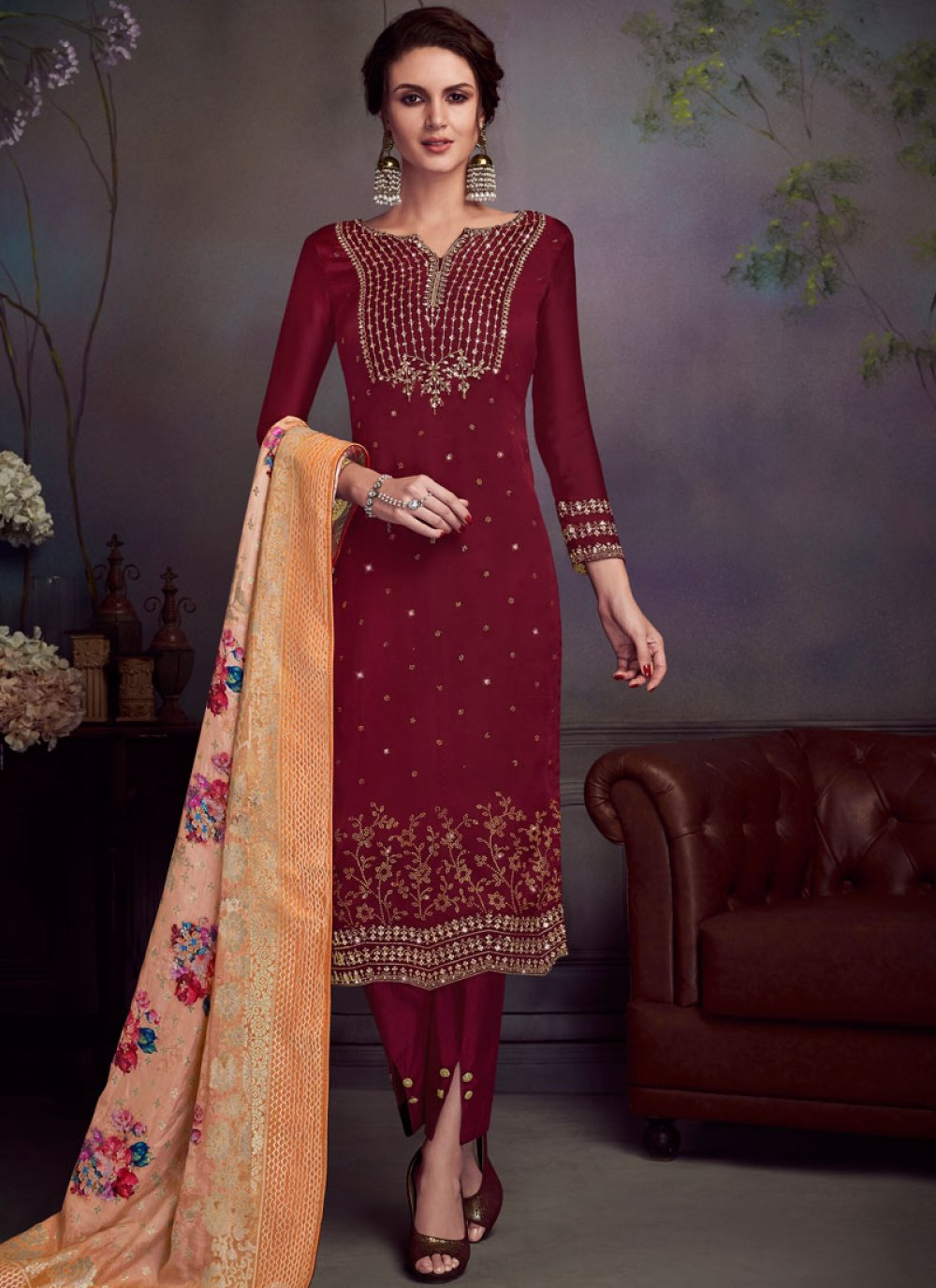 Georgette Satin Embroidered Red Pant Style Suit