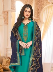 Georgette Satin Embroidered Sea Green Designer Suit