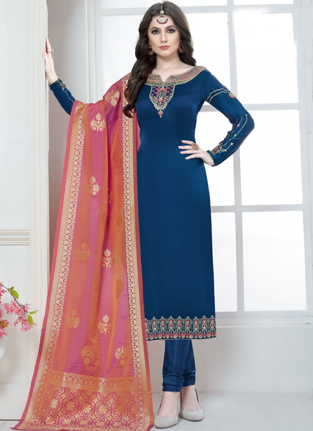 Georgette Satin Embroidered Trendy Salwar Suit in Blue