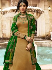 Georgette Satin Gold Embroidered Trendy Lehenga Choli