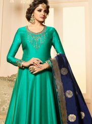 Georgette Satin Green Anarkali Salwar Kameez