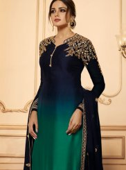 Georgette Satin Green and Navy Blue Embroidered Churidar Designer Suit