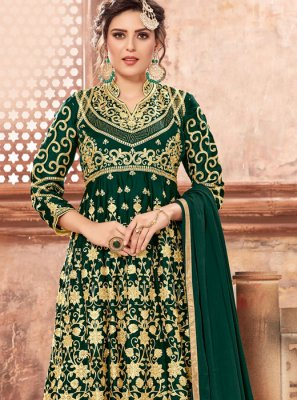 Georgette Satin Green Designer Pakistani Suit