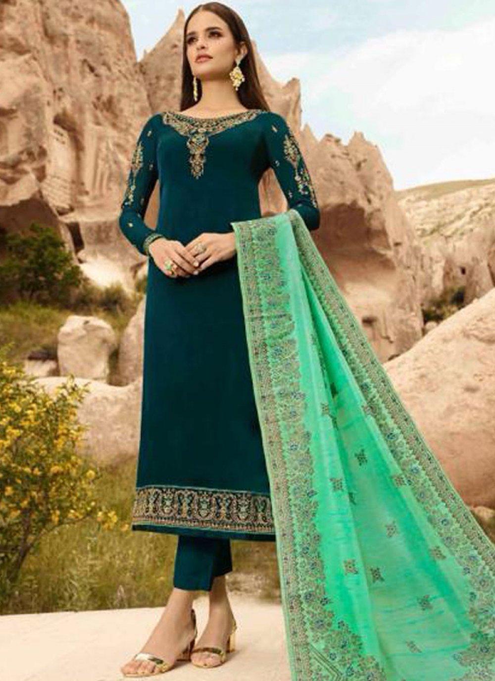 Georgette Satin Green Designer Straight Suit