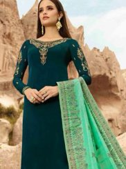 Georgette Satin Green Designer Straight Suit