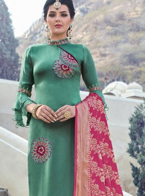 Georgette Satin Green Embroidered Straight Salwar Suit