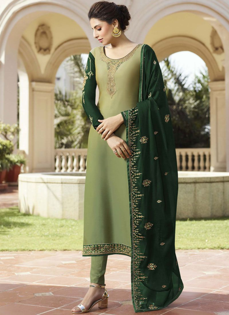 Georgette Satin Green Pant Style Suit