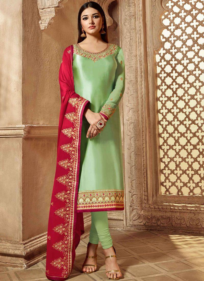 Georgette Satin Green Resham Churidar Designer Suit