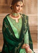 Georgette Satin Green Resham Designer Pakistani Suit