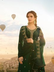 Georgette Satin Green Resham Designer Pakistani Suit