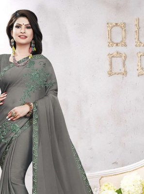 Georgette Satin Grey Embroidered Casual Saree