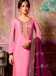 Georgette Satin Hot Pink Embroidered Churidar Suit