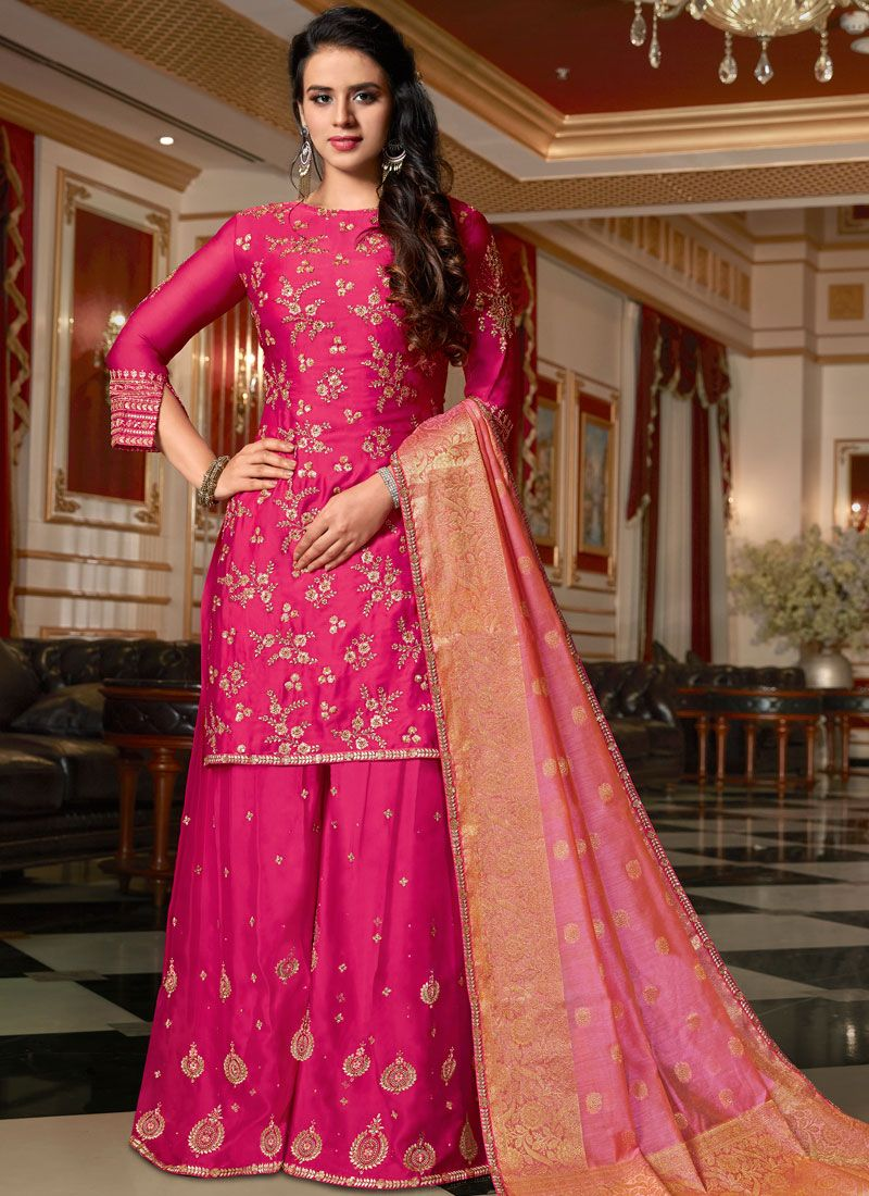 Georgette Satin Hot Pink Resham Designer Pakistani Suit