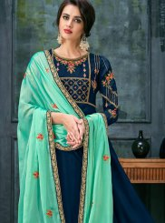 Georgette Satin Lace Floor Length Anarkali Suit